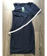 new RALPH LAUREN Layered Angel Sleeve Dress sz 4 navy blue white asymetr... - $59.30