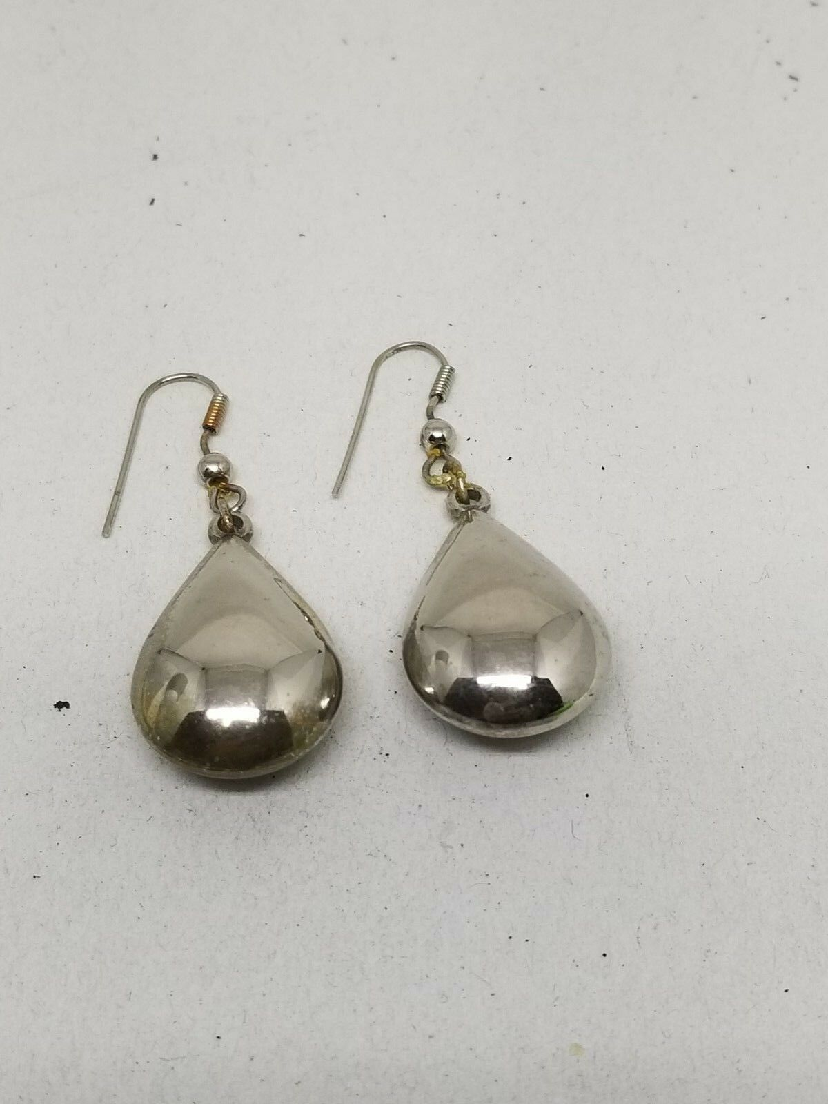 Silver Tone Large TearDrop Shaped Fish Hook Pierced Earrings
