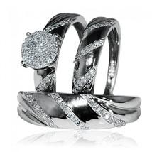 Men's & Ladies 14K Black Gold Plated 925 Silver Trio Wedding Ring Set Round CZ - $154.96