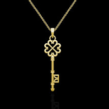 "Key Pendant Solid 14K Yellow Gold Charm 18"" Cable Chain Necklace Skeleto... - $202.93"