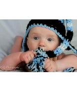 Hand crocheted blue white and black pixie hat for infant - $20.00