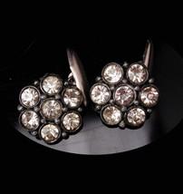 Antique button cufflinks / Vintage Rhinestone Button / silver Cufflinks / Paste  - $145.00