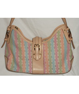 Fossil - Pastel Striped Hobo Purse with Key Pink Blue Green Orange - $21.91