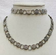 Necklace & Bracelet Set Sarah Coventry Silver Tone Metal Discs Etched Floral Vtg - $15.98