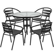 Patio Round Table Set Black Glass Storage Aluminum Contemporary Furnitur... - $212.83