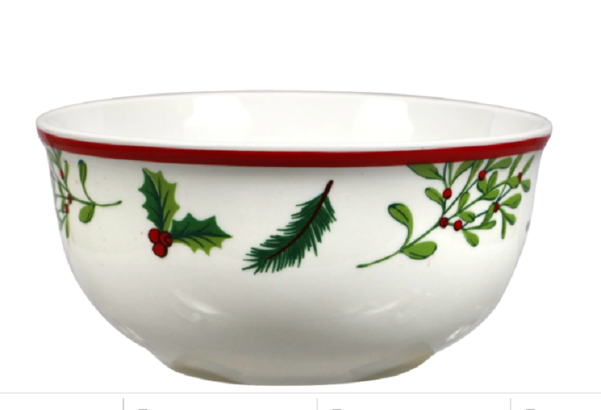 NEW Gibson CHRISTMAS Holly Berries Soup Bowls 6 Pack - $12.99