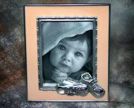 Adorable Baby Picture Frame in Peach Enameled Pewter 3.5x4.5 - $9.99