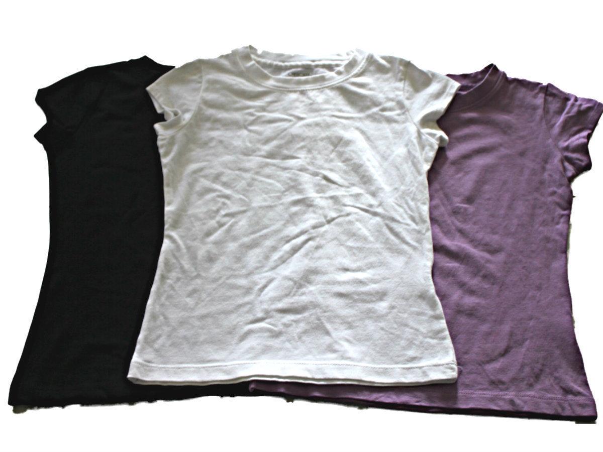 3 CHEROKEE GIRLS ULTIMATE TEE SHORT SLEEVE TOPS  WHITE, PURPLE, NWT BLACK 6X - $9.30