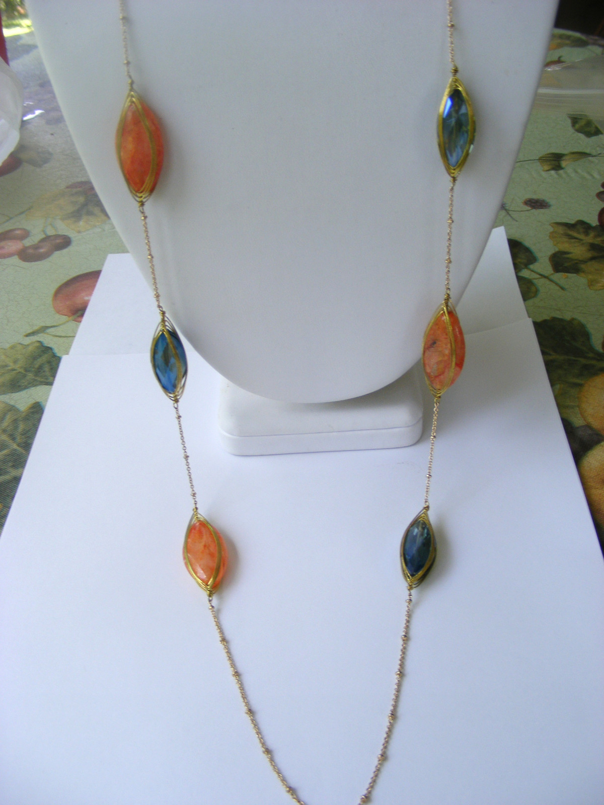 Primary image for GOLD CHAIN GOLD WIRE WRAPPED MULTICOLORED GLASS FACETED CABOCHONS NECKLACE
