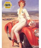 Vintage pin up girl classic race car art reproduction metal sign napa au... - $19.79