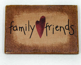Family Friends Wooden Refrigerator Magnet Sign  - $4.89