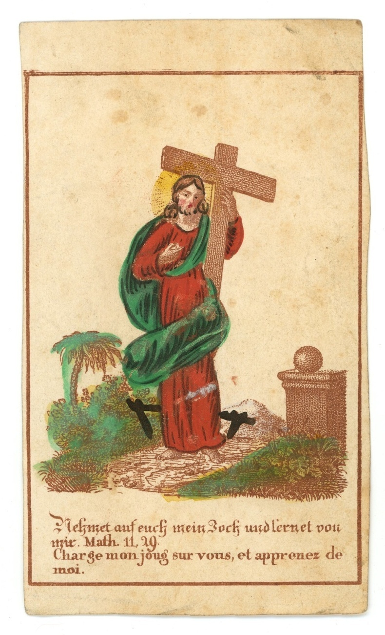 antique German Catholic holy card Christ cross hand colored 1800 religion Christ