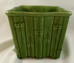 USA # 9055~VINTAGE 1950's GREEN BAMBOO STYLE~ ceramic flower pot/planter! - $9.89