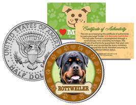 ROTTWEILER Dog JFK Kennedy Half Dollar US Colorized Coin - $8.86