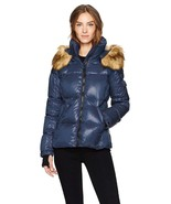 S13 Women's Night Blue Down Hooded Kylie Faux Fur Trim Puffer Jacket Coat - $111.99