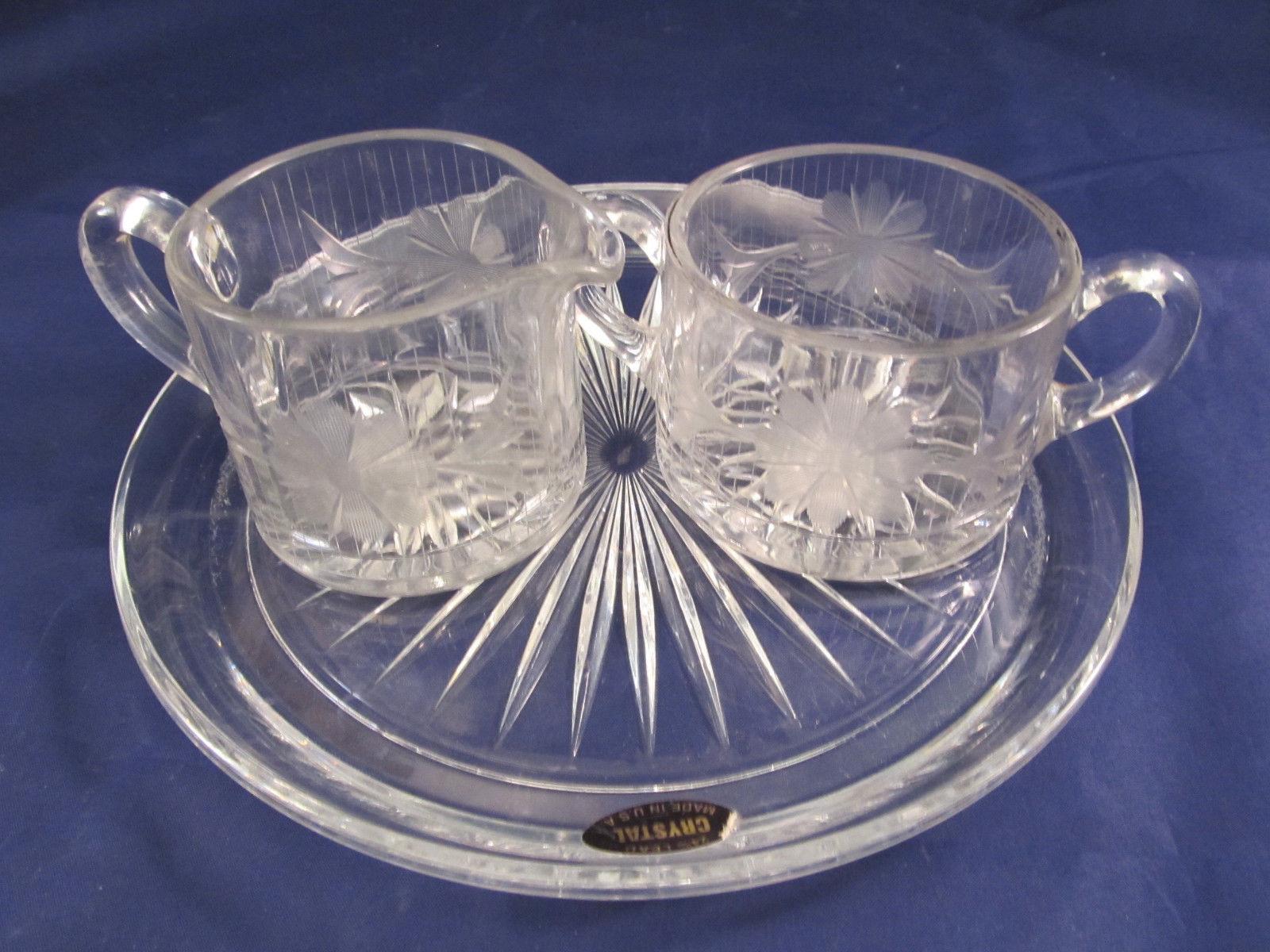 Wonderful Crystal Breakfast Set Or Afternoon Tea – Cream Sugar & Tray -
