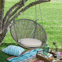 Boho Chic Tonal Gray Brown Wicker Outdoor Hanging Chair With Seat Cushio... - €151,00 EUR