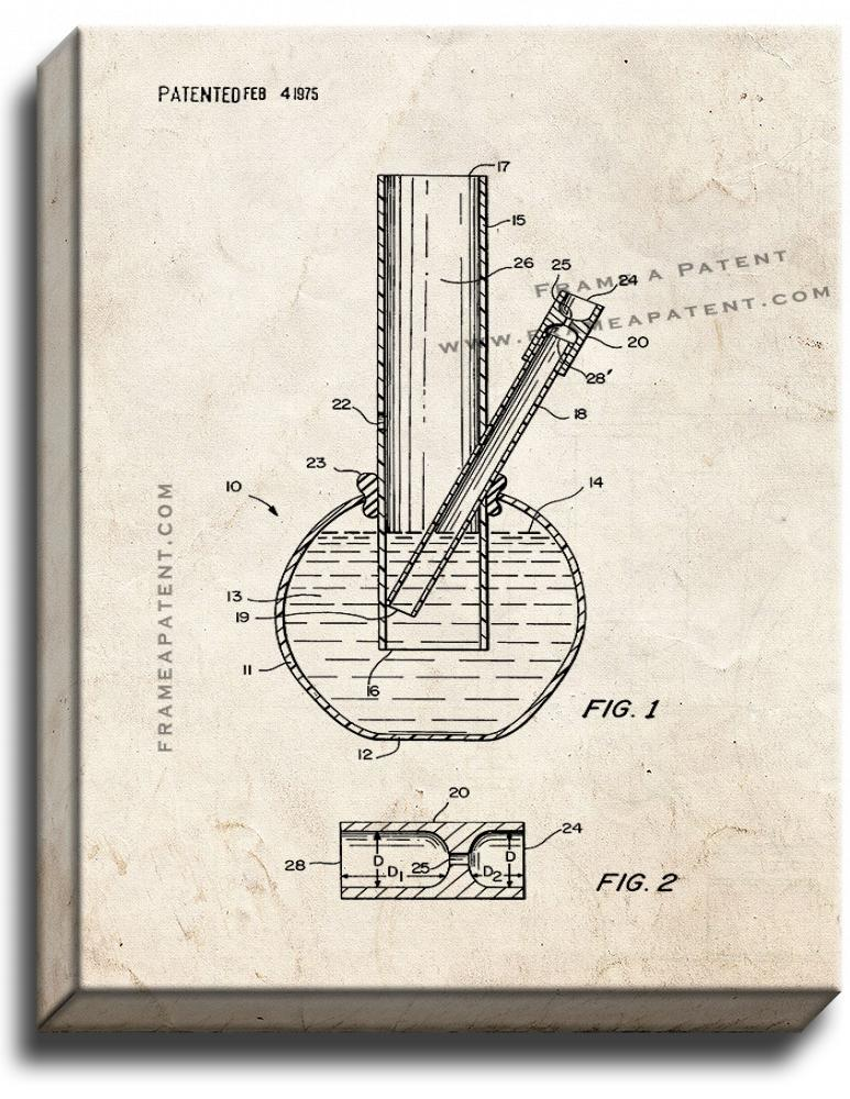 Primary image for Smoking Device Bong Patent Print Old Look on Canvas