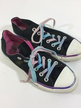 Converse Women's size US 7 EUR 37.5 Black Purple Rainbow Laced Canvas Shoes - $12.19