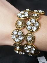 Antique Gold Double Row Crystal Rhinestones Stretch Bracelet - $28.97