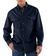 small regular CARHARTT SANDSTONE TWILL WORK SHIRT STYLE S09 MIDNIGHT SIZ... - $35.99