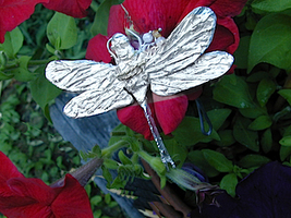 DRAGONFLY PIN Sterling Silver Gold wire belt gemstone beads elegant insects - $140.00