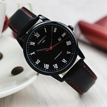CHRONOS Watches Men Roman Numerals Leather Watch Mens Waterproof Quartz ... - $20.00