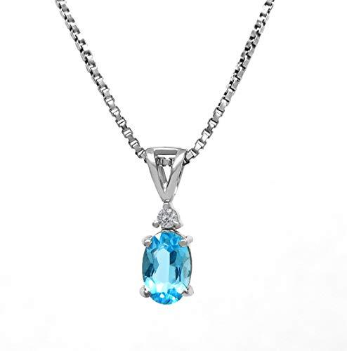 AFJewels 14K White Gold Genuine Oval Blue Topaz Solitaire 0.02 ct Diamond Accent