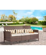 Modern Sofa 3 Seats Garden Patio Pool Elegant Furniture Relaxing Comfort... - $266.29