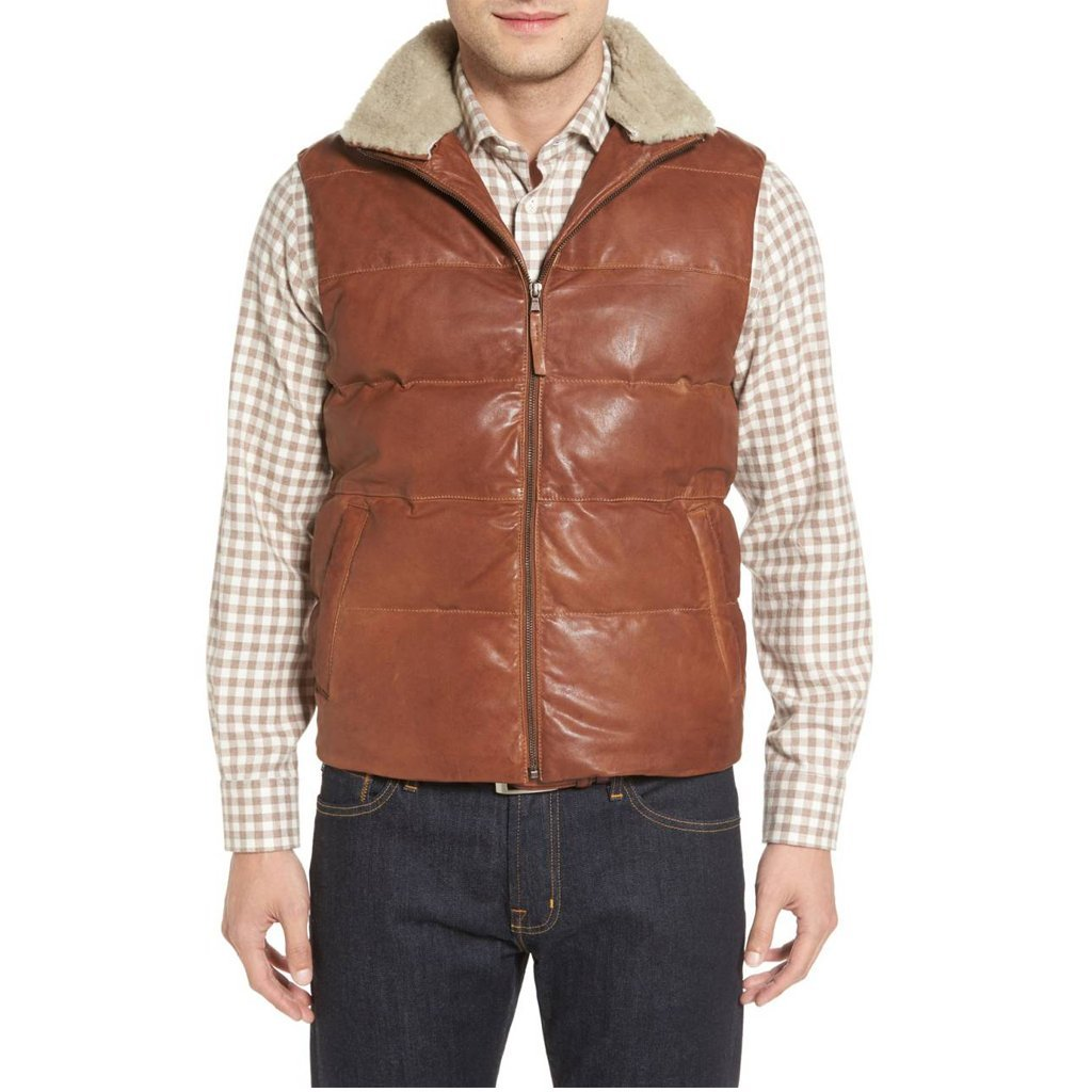 Faux Fur Men leather Vest