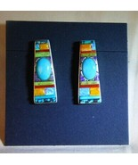 Whiterock Sterling Silver Sleeping Beauty Multi-Color Turquoise Inlay Ea... - $145.00