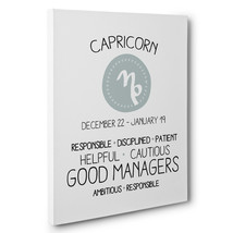 Zodiac Sign Capricorn Astrology Zodiac Canvas Wall Art - $29.21