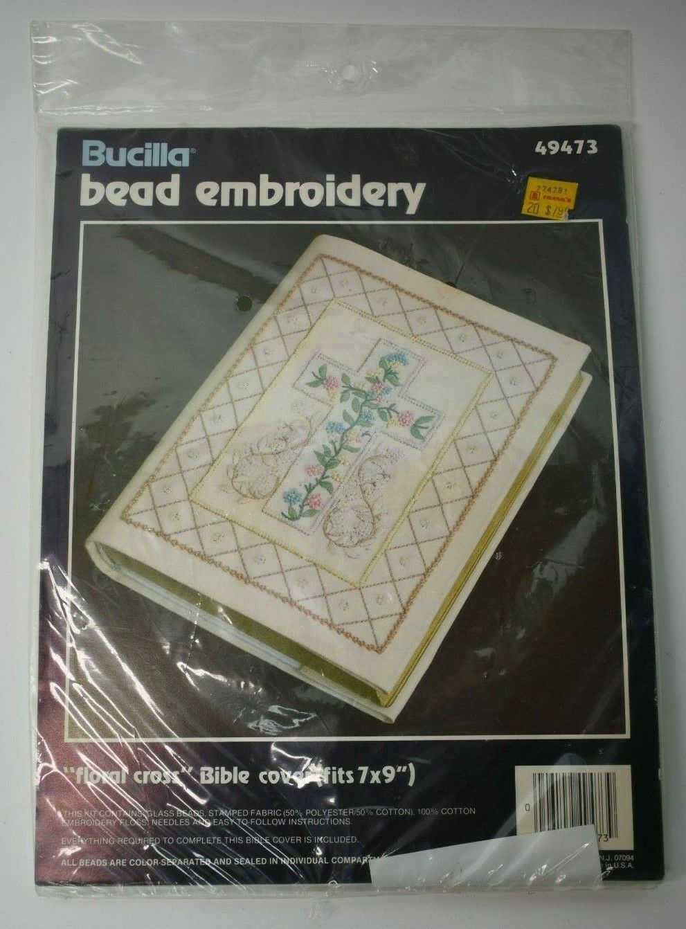 Primary image for Vtg Bucilla Bead Embroidery Floral Cross Bible Cover fits 7x9 49473