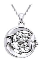 Jewelry Trends Sterling Silver Moon Sun Stars Celestial Pendant on 18 In... - $42.82