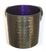 Judaica Hand Wash Cup Netilat Yadayim Last Water Stainless Steel Purple Hammered image 2