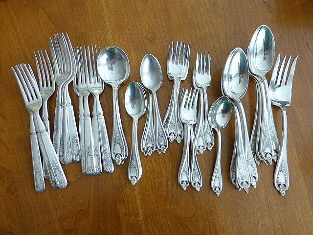 """4 OLD COLONY 1847 Rogers Bros Silverplate TABLESPOON Serving Spoon ART DECO 8.5/"""""""
