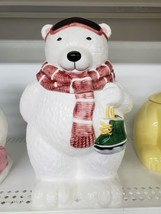 Polar Bear with Skates Cookie jar Winter/Christmas Theme - $20.00