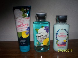 Bath & Body Works Sheer Cotton & Lemonade 3 pc set  Body Wash  Cream  & ... - $27.97