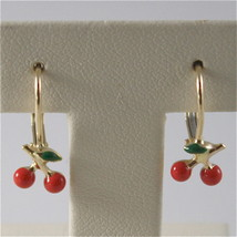 SOLID 18K YELLOW GOLD PENDANT EARRINGS WITH CHERRY, LEVERBACK, MADE IN ITALY image 1