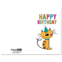 Cat Smiling Birthday Card --- with Custom Handwritten Message - mailed t... - $2.23
