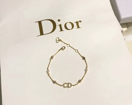 Auth NEW Christian Dior CLAIR D LUNE GOLD Crystal Pearl BRACELET  image 5