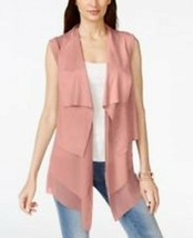 Vakko INC Suede Chiffon Vest Medium Pink Berry Tiered Layers Stretch $17... - $19.80
