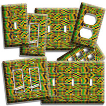 African Colorful Kente Cloth Look Light Switch Outlet Wall Plate Room Home Decor - $8.99+
