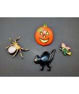 Halloween Lot Jack O'Lantern Black Cat Rhinestone Spider Witch Brooch Bu... - $17.80