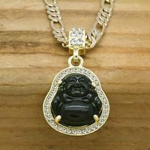 Men'S 14K Gold Plated Black Resin Buddha Pendant 5Mm 24 Figaro Link Chai... - $46.99