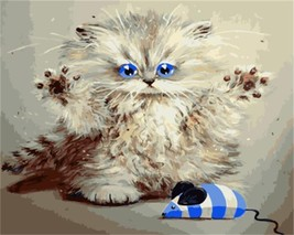 """Cat and Mouse16X20"""" Paint By Number Kit DIY Acrylic Painting on Canvas Frameless - $8.99"""