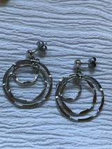 Estate Three Thin Flattened Silvertone Concentric Open Circles Dangle Po... - $8.59