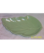 Green Leaf Platter  marked on bottom QQ- 15 inch by 10 inch Quon Quon  - $15.00