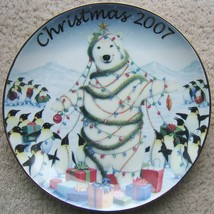 SHARING HOLIDAY WITH FRIENDS AVON CHRISTMAS PLATE GOLD TRIM 2007 BEAR PE... - $68.99