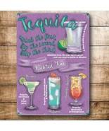 Tequila Cócteles Bebida Recetas Fiesta Bar Pub Club Pequeño Metálico - $6.43